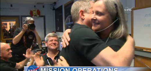 Alan Stern hugs Alice Bowman after getting a signal lock with New Horizons
